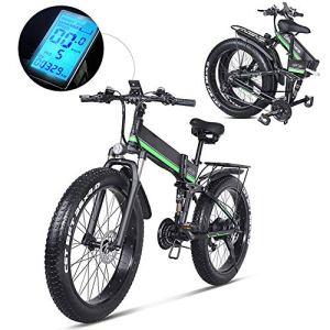 UNIIKE Gros Pneu De Vélo, 1000W/48V Vélos Électriques VTT 26»*7 Niveaux De Pédale Assistée Lithium-ION Battery Pliant pour Adulte Femme/Homme