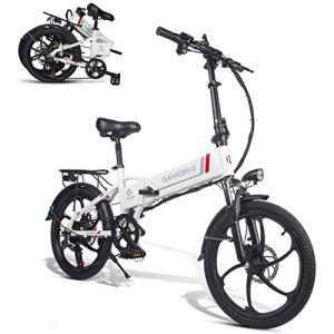 XCBY VéLo éLectrique Pliant ,Bicyclette éLectrique – 20″ VéLo Adulte Pliant Moteur 350w, Vitesse Jusqu'à 35 Km/H, 70km La Longue PortéE White
