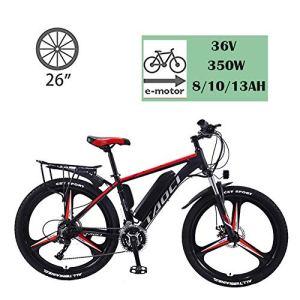 YMhome Vélos Électriques pour Adultes, en Alliage De Magnésium Ebikes Vélos Tout Terrain, 26″ 36V 350W Amovible Au Lithium-ION pour Hommes Montagne Ebike,Black Red,13AH