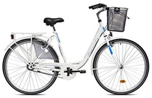 breluxx® Vélo pour femme Diana, Nexus 3 vitesses, frein à rétropédalage, vélo de ville avec panier et éclairage rétro Blanc – Modèle 2020