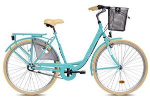 breluxx® Vélo pour femme Diana, Nexus 3 vitesses, frein à rétropédalage, vélo de ville avec panier et éclairage rétro Turquoise – Modèle 2020