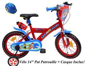EDEN-BIKES VELO 14″ GARCON PAT PATROUILLE 2 FREINS PB/BIDON AR + CASQUE Vélo enfants, Multicolore, 14»