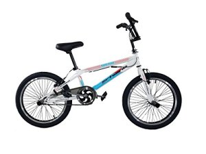 F.lli Schiano BMX Freestyle Hard Road Vélo Garçon, Blanc/Bleu Clair, Taille 20″