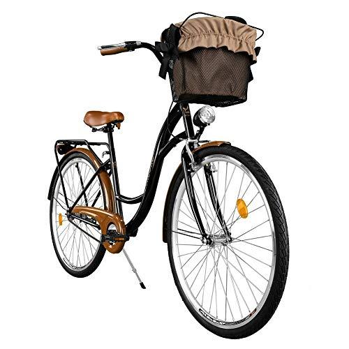 Milord. Vélo de Confort avec Panier Bicyclette Femme City Bike Vélo de Ville, 3 Vitesses, Brun Noir, 28 Pouces