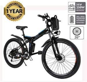 Oppikle Vélo Electrique 26″ E-Bike – VTT Pliant 36V 250W Batterie au Lithium de Grande Capacité – Ville léger Vélo de avec moyeu 21 Vitesses (Noir)