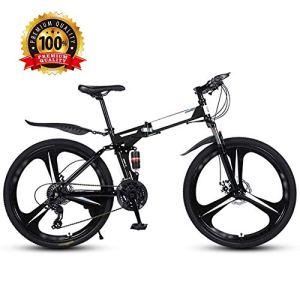 Vélo léger pliable 26″ Vélo de ville pliable unisexe vélo de banlieue double frein à disque, 27 vitesses hors route VTT VTT Noir