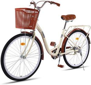 WOF Vélo de Loisirs de Ville de vélo d'étudiant Portable Ultra léger for Femmes, Composants de Changement de Vitesse de Niveau de Course à 7 Vitesses, vélo de Ville for Hommes et Femmes