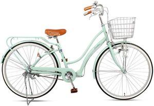 WOF Vélo de Loisirs de Ville-vélo de Banlieue Urbain for Femmes avec Panier vélo rétro de Style néerlandais Cadre en Acier à Haute teneur en Carbone vélos de Confort for l'extérieur Urbain