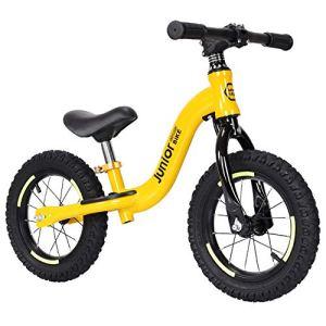 AMAZOM Vélo D'équilibre pour Enfants, Pédale Vélo d'enfant avec Cadre en Alliage D'aluminium, Guidon Réglable Et Siège, Vélo d'enfant en Bas Âge pour Les Enfants De 2 À 6 Ans,Jaune