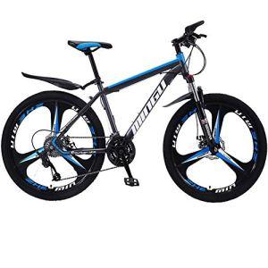 BREEZE Adulte VTT, 26 Pouces Roues, Mountain Trail Bike Haut en Acier au Carbone Pliant Outroad Vélos, 21 Vitesses Vélo Pleine Suspension VTT Freins à Disque Double Vitesses Vélo de Montagne