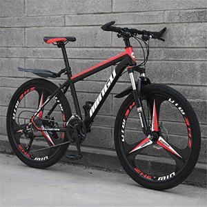 GOLDGOD Vélos De Montagne pour Hommes, Vélo De Montagne 21 Vitesses avec Siège Réglable 26 Pouces À Suspension Avant en Acier À Haute Teneur en Carbone VTT Country Gear Shift Bicycle,Black Red