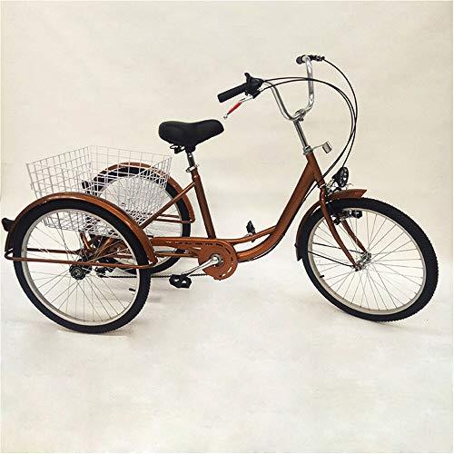 Jintaihua Nouveau 24″6 Vitesses 3 Roues Adulte Tricycle vélo Sports de Plein air Ville Urbain vélo Panier Dossier