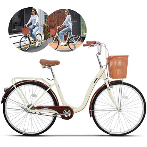LHY 24″ Vélo de Femmes, Dames Cruiser vélo avec Panier, étudiant Traditionnel Classique Style de Vie Vélo Urbain Route Cycle Cadre 6 Vitesses motopropulseurs Alluminum Cadre, Entraînement,Beige