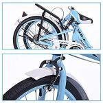 LHY Dames Vélo Pliant, 20″ Filles City Bike avec Le Panier Fodable Cruiser vélo pour Les étudiants Portable léger Confort Selle Vélo Urbain de Banlieue Route,Blanc