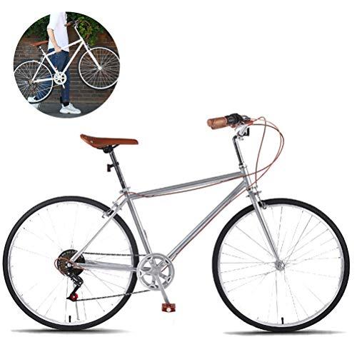 LHY Néerlandais Style de vélo, Route de Banlieue Urbaine Vélo 26″ 7 Speed Vintage Classic Bikes Vélos Retro Cycle Loisirs Country Road Riding British Style de vélo Confort & Cruiser,Argent