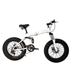 Logo ZWJ-JJ Vélo Pliant VTT 26 Pouces avec des Super-légers Cadre en Acier, Suspension Double Pliant vélo et 27 Speed Gear, Blanc, 27Speed