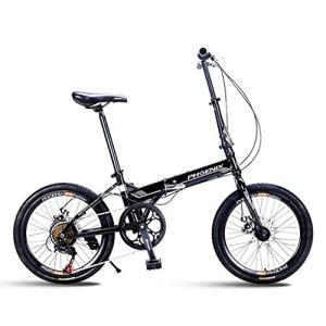 Logo ZWJ-JJ Vélo VTT Vélo Pliant Unisexe 20 Pouces Petite Roue vélo Portable 7 Vitesse vélo (Couleur: Blanc, Taille: 150 * 30 * 60 cm)