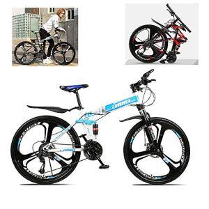 ZLMI Vélo Pliant Portable De 26 Pouces, Vélo De Montagne À Suspension Complète, Vélo À Vitesse Variable pour Adulte À 24 Vitesses, Cadre en Acier À Haute Teneur en Carbone, Pliage Rapide,Bleu