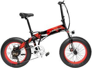 ZTBXQ Sports de Plein air Banlieue vélo de Route Urbain X2000 20 Pouces Gros vélo électrique Pliant 7 Vitesses Neige 48V 10.4Ah / 14.5Ah 500W Moteur Cadre en Alliage d'aluminium 5 Pas Mountain plm46