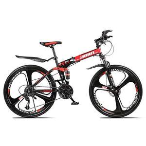 ZWJ-JJ Sports de plein air pliant de vélo de montagne, 26 pouces, 27 vitesses, vitesse variable, Freins à double disque, absorption des chocs, Offroad vélos, Adulte Hommes équitation en extérieur, Rou