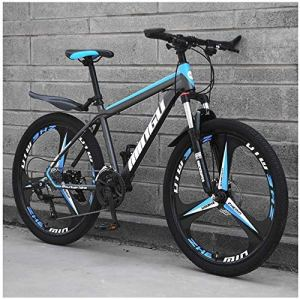 AYHa 26 pouces Vêtements pour hommes Vélos de montagne, haute en acier au carbone Hardtail VTT, Vélo de montagne avec suspension avant réglable Siège, 21 Vitesse,30 Vitesse,Cyan 6 branches