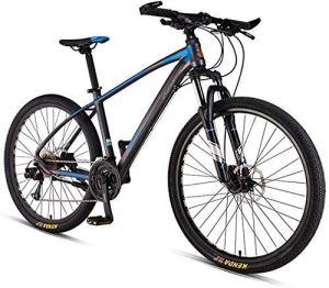 AYHa Vélos de montagne Hommes, Femmes adultes 33 Vitesse Vélo de montagne, VTT Semi-rigide avec double disque de frein, vélo de banlieue,Spoke gris,27,5 pouces