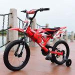 IsEasy Vélo de Moto pour Enfants Enfants garçons vélo vélo 16 » Pouces en Acier 4 Roues Poussette avec stabilisateurs de Cadre (Rouge)