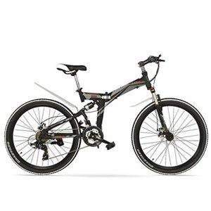 LANKELEISI K660M 24/26 Pouces VTT Pliant, vélo Pliant 21 Vitesses, Fourche verrouillable, Suspension Avant et arrière, Les Deux Freins à Disque, vélo de Montagne (Noir Gris, 26 inches)