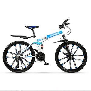 LWZ Vélo de Montagne Adulte 26 Pouces Roues vélos Tout-Terrain en Acier à Haute teneur en Carbone Absorption des Chocs Double Frein à Disque vélo Pliant 24 Vitesses VTT VTT