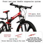 LWZ Vélo de Montagne Pliant 24 Vitesses vélo Double Frein à Disque Absorption des Chocs VTT Cadre Pliable Rigide Roues de 26 Pouces vélos d'exercice Unisexe