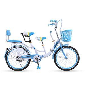 MALY Vélo Tandem avec Bicyclette Parent-Enfant Siège Avant Système De Freinage Sensible Adapté pour Voyager avec Un Bébé,Bleu