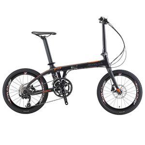 SAVA 20″ Vélo Pliant de Fibre de Carbone Shimano 105 R7000 22-Vitesses Système de Transmission pneus Shimano M315 Huile de Frein CST Facile à Transporter (Noir Orange)