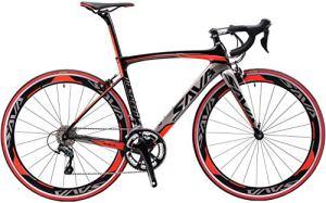 SAVA Vélo de Route Carbon, Homme de Course de vélos en Fibre de Carbone T800 avec Groupe Shimano 105 7000 22 Vitesses (Noir Gris Rouge, 54cm)
