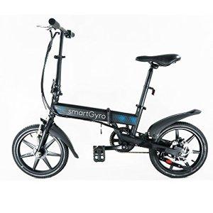 SMARTGYRO EBIKE Black Vélo électrique Pliant, Roues de 16″ et Batterie extractible au Lithium de 4400 mAh 24V (Noir) Mixte Adulte