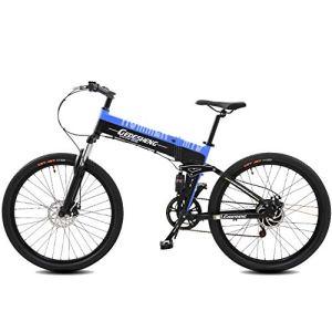 Vélo électrique Pliant 240W 48V10AH Vélo De Montagne 27 Vitesses Vélo De Route E-bike Cruiser Deux Styles Au Choix Booster électrique – 90km / Pure Booster Riding – 10000km,Blue-Pure/Booster/Ride/10000km