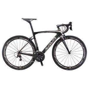Vélos de Route Carbone, SAVA 700C Velo de Course Homme 22 Vitesses Shimano 105 5800 Group et Selle fizik Route (Gris&Noir, 520)