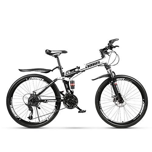 ZLZNX 24 Pouces VTT Tout Suspendu, Vélos Pliants Double Frein à Disque, Suspension Avant, Cadre en Acier À Haute Teneur en Carbone pour Homme Femme,Noir,24Speed