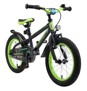 BIKESTAR Vélo Enfant pour Garcons et Filles de 4-5 Ans | Bicyclette Enfant 16 Pouces Mountainbike avec Freins | Noir & Vert