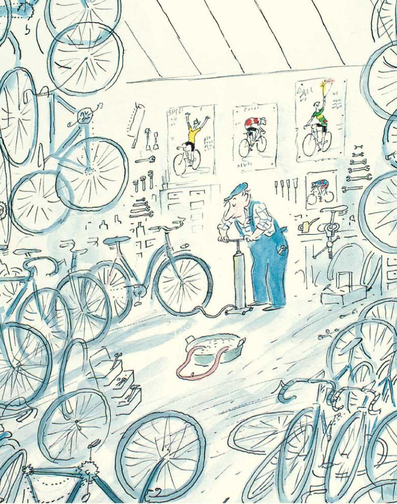 Ein bisschen durcheinandrig, jedoch einladend: Paul Tamburins Velowerkstatt, gezeichnet von Sempé in «Das Geheimnis des Fahrradhändlers».