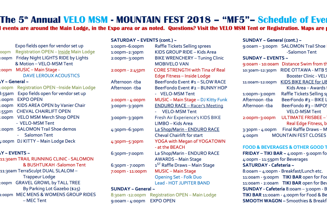 Mountain Fest Schedule Available