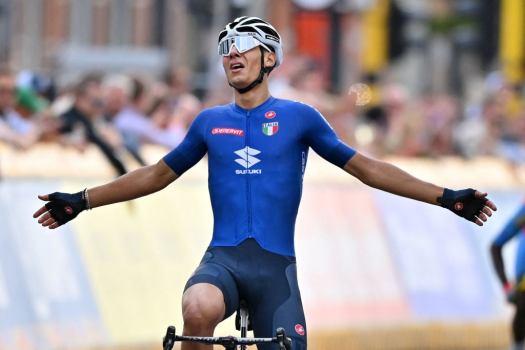 Filippo Baroncini wins crash-riddled U23 road race as Eritrea hits historic podium