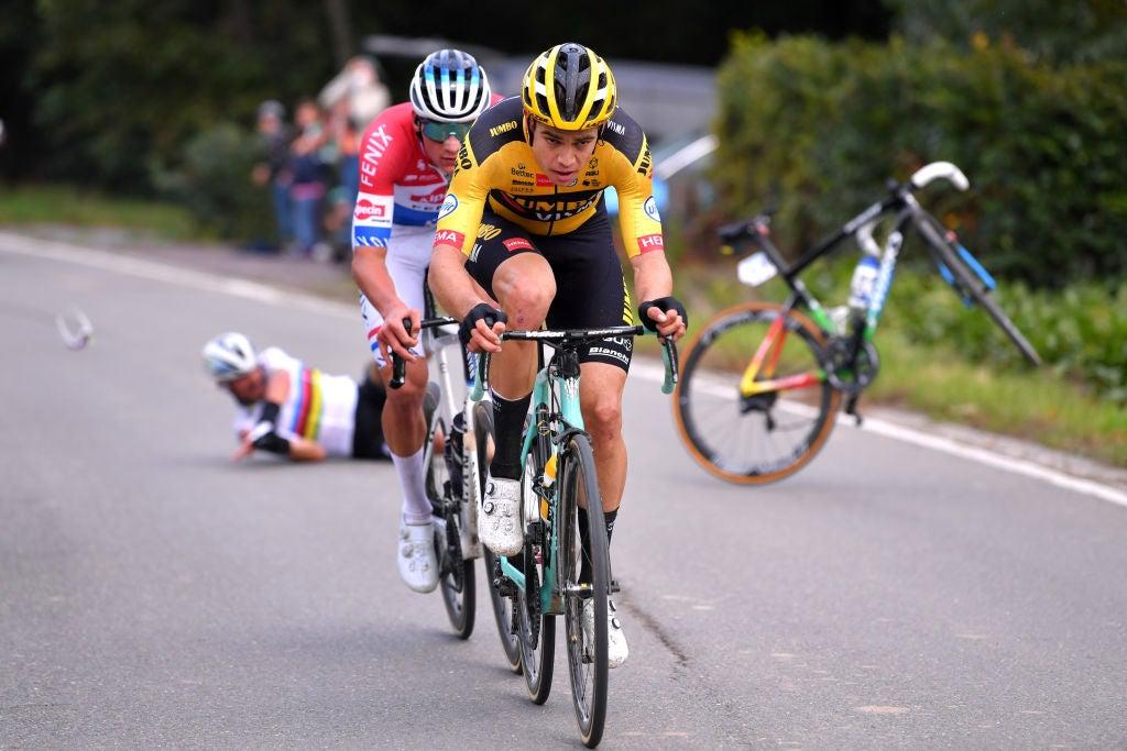 https www velonews com news wout van aert tops mathieu van der poel to win tour of flanders