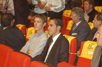 Andy Schleck on casual dress day, and Bert Contador, very professional as usual.