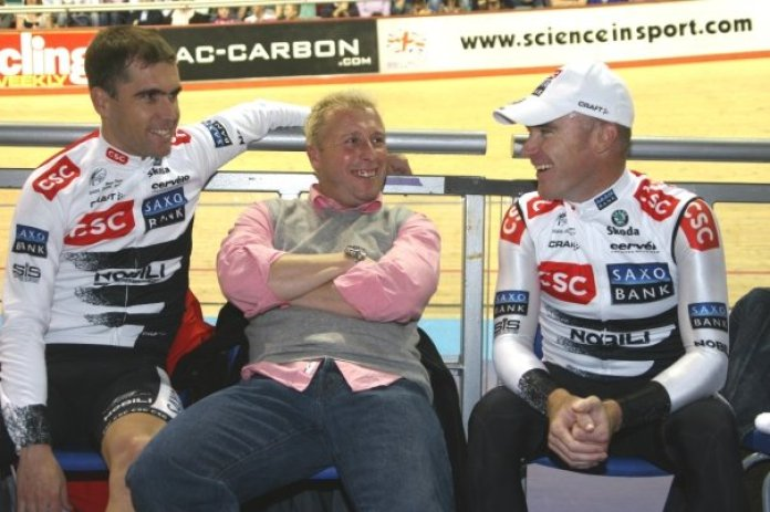 Pete is involved in rider and appearance management. Seen here with Brad McGhee and Stuart O'Grady at Manchester Velodrome.