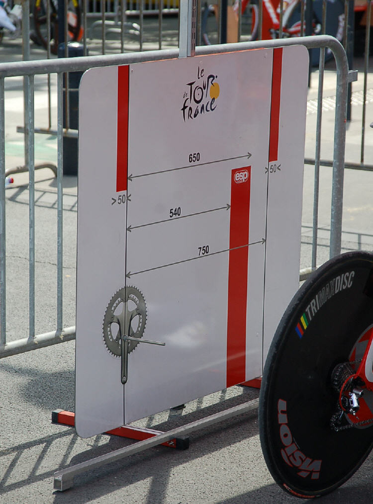 The high-tech UCI measuring jig.