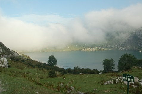 Lagos de Covadonga shrouded in mist.