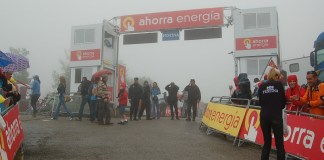 The Vuelta finish line is a relaxed place, until five minutes to go.