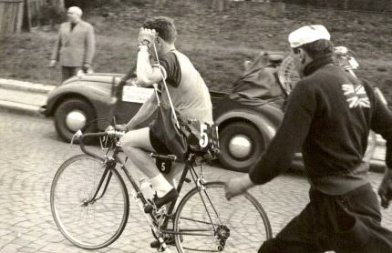 Mechanic Alf Buttler is after Jimmy in the 1957 Peace Race.