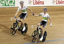 More Aussie gold: Cameron Meyer and Leigh Howard celebrate after winning the Madison.