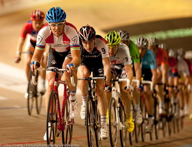 Alex Rasmussen leads Marc Hester in the Madison.